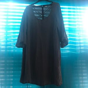 Gray Bell Sleeve Casual Dress